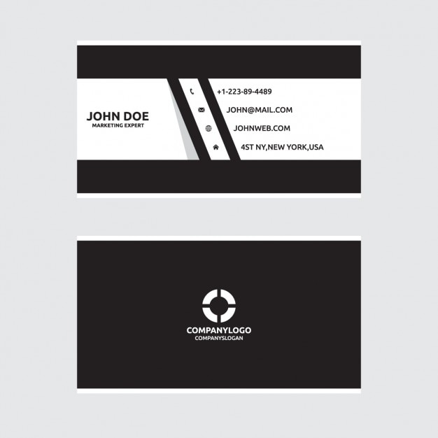 Black and white design business card vector free download for Black and white business card design