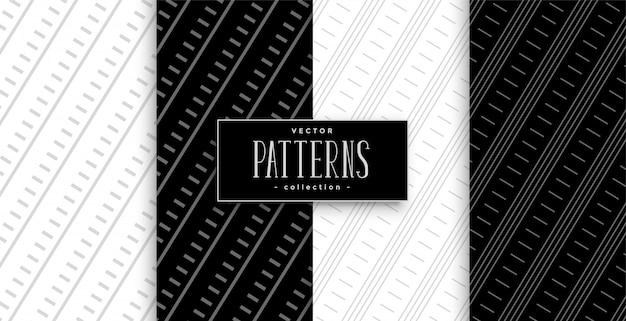 黒と白の斜め線幾何学模様セット 無料ベクター