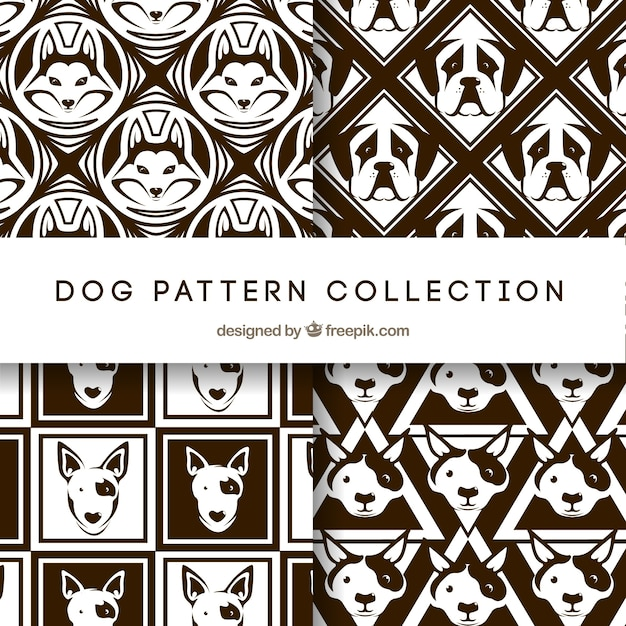 Black and white dog pattern collection