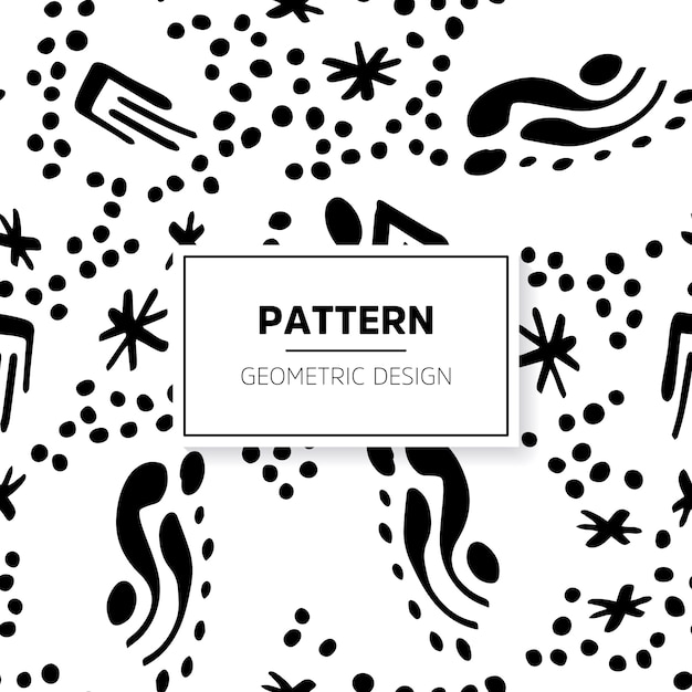 Black and white doodle pattern with abstract shapes
