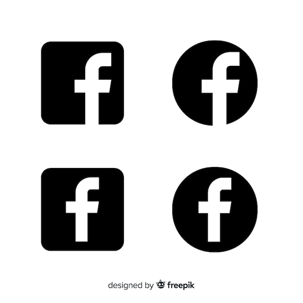 black and white facebook symbol vector free download
