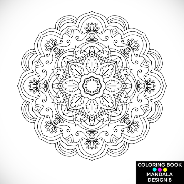 Black And White Floral Mandala For Coloring Book Free Vector