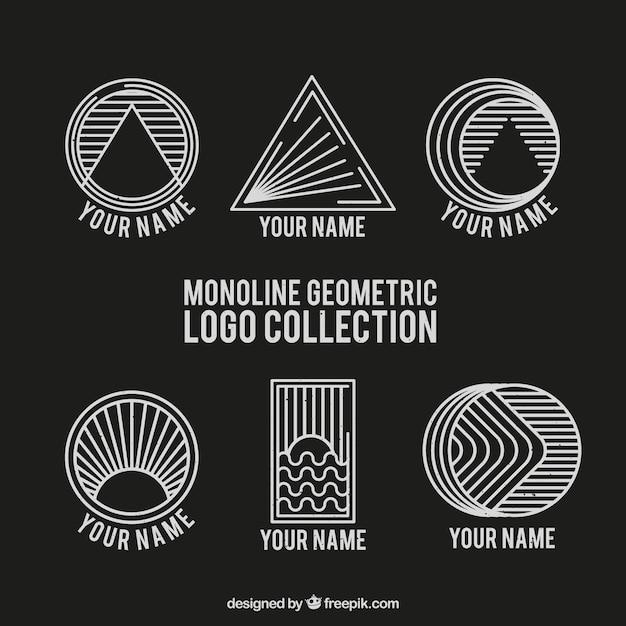 Black and white geometric monoline logos