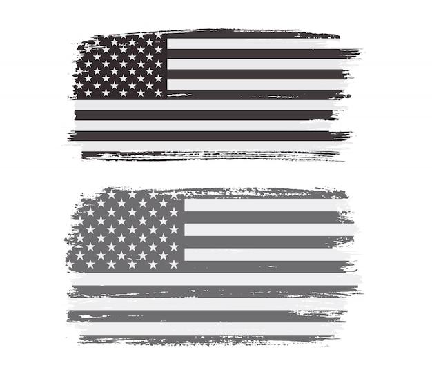 黒と白のグランジアメリカ国旗 Premiumベクター