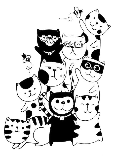 黒と白の手描き、猫キャラクターセットスタイルの落書きイラスト子供のための着色。 Premiumベクター