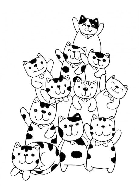 黒と白の手描き猫キャラクターセットスタイル落書きイラスト子供のための着色 Premiumベクター