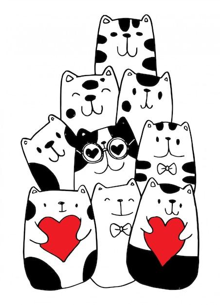 黒と白の手描き、猫のキャラクタースタイルは子供のためのイラストのいたずら書きをいたずら書き。 Premiumベクター