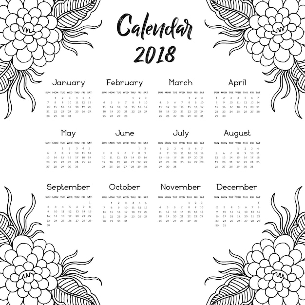 black and white hand drawn floral annual calendar 2018 vector free