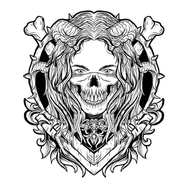 黒と白の手描きイラスト悪魔の女性の頭蓋骨マスク彫刻飾り Premiumベクター