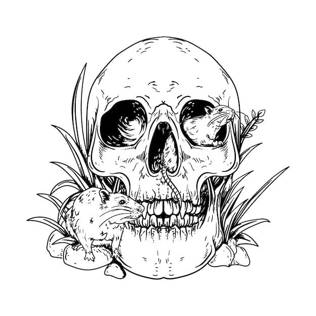 Черно-белая рука рисованные иллюстрации человеческий череп с крысами премиум Premium векторы