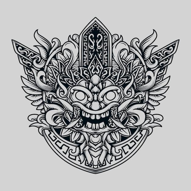 黒と白の手描きイラストマヤバロン Premiumベクター