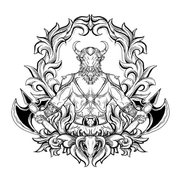Черно-белая рисованная иллюстрация минотавр гравюра орнамент Premium векторы