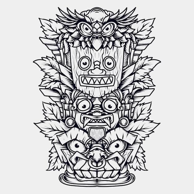 黒と白の手描きイラストトーテム Premiumベクター