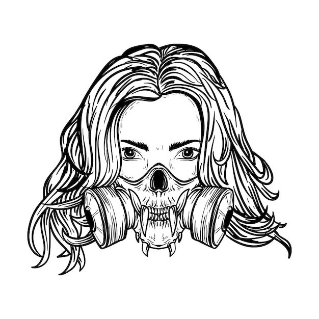 黒と白の手描きイラスト頭蓋骨防毒マスクを持つ女性 Premiumベクター