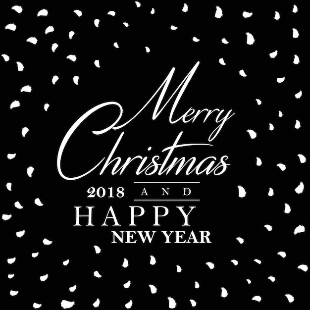 black and white happy new year 2018 poster background free vector