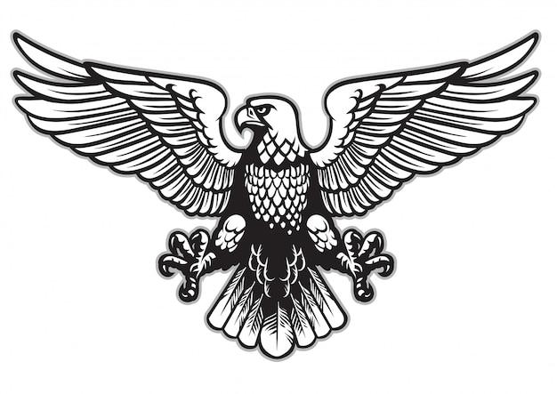 黒と白の紋章ワシ Premiumベクター
