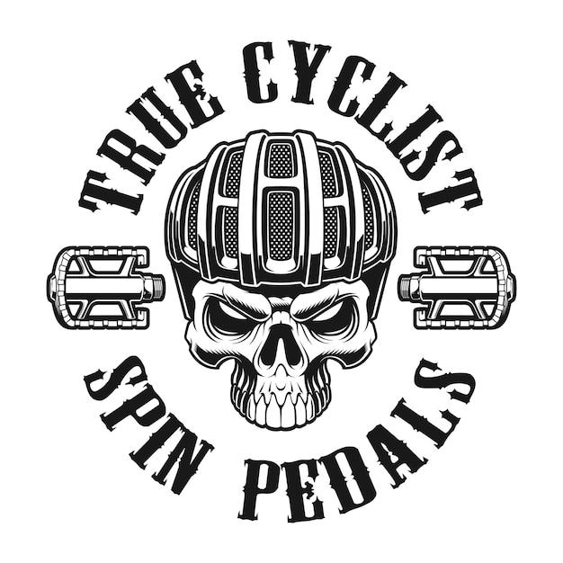 Черно-белая иллюстрация черепа в шлеме велосипедиста на белом фоне Premium векторы