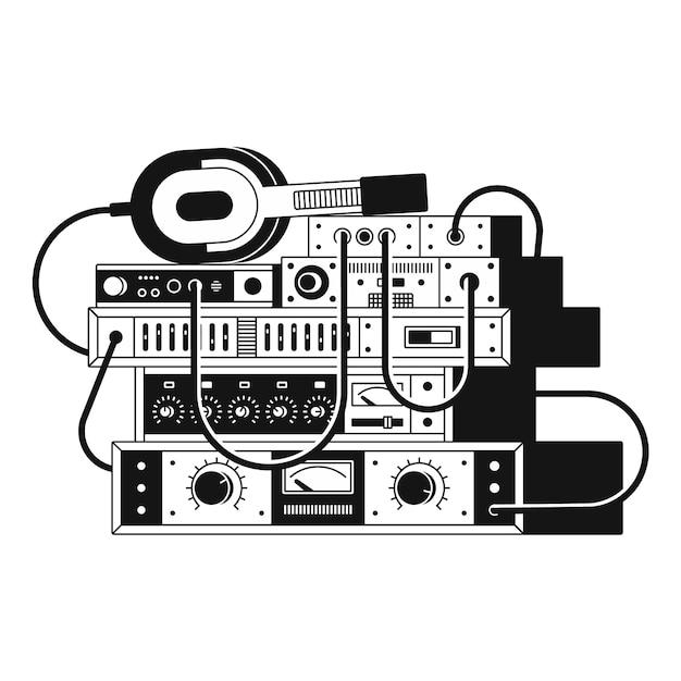 Черно-белые иллюстрации музыкальных усилителей и наушников. белый фон. Premium векторы