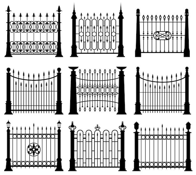 흑인과 백인 철 문 및 울타리 세트 무료 벡터