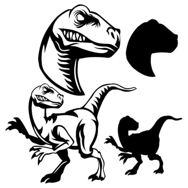 black and white line art raptor logo vector premium download rh freepik com raptor clip art free Raptor Dinosaur