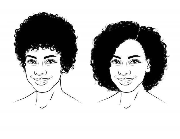 Черно-белая линейная иллюстрация лица девушки с вьющимися короткими волосами. красивая афро-американских девушка улыбается. изолированный портрет счастливой молодой женщины в стиле эскиза Premium векторы