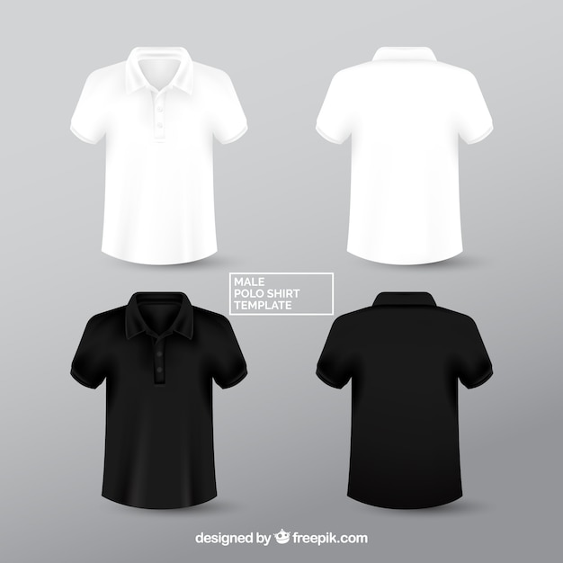 Black and white male polo shirt templante Free Vector