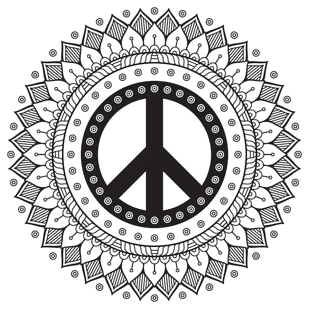Black And White Mandala With Peace Symbol Vector Free Download