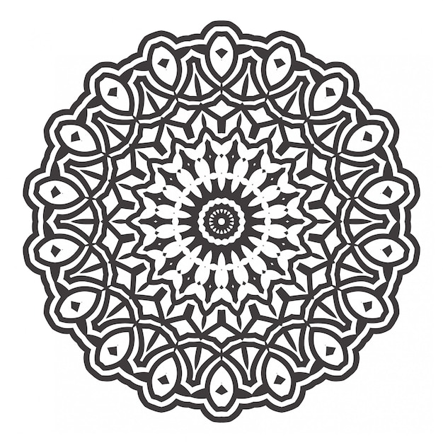 Черно-белые мандалы раскраски Premium векторы