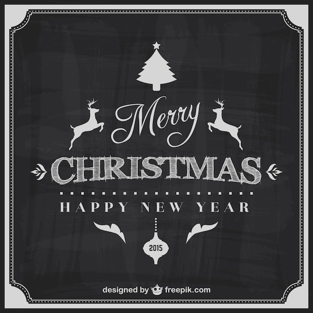 Black and white Merry Christmas card Vector | Free Download