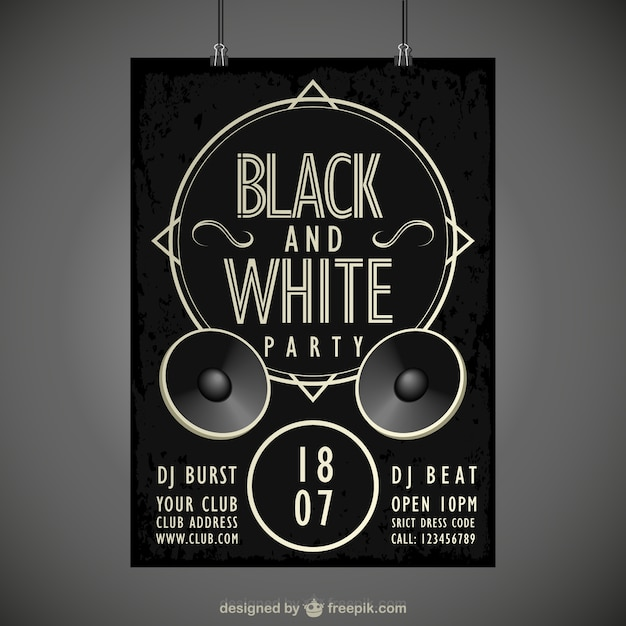 Black and white party poster free vector