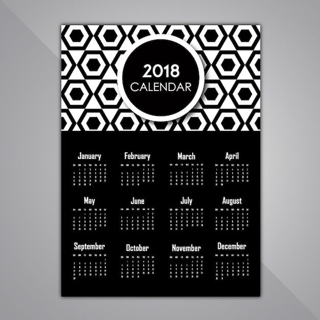 Black And White Pattern Calendar designs Free Vector