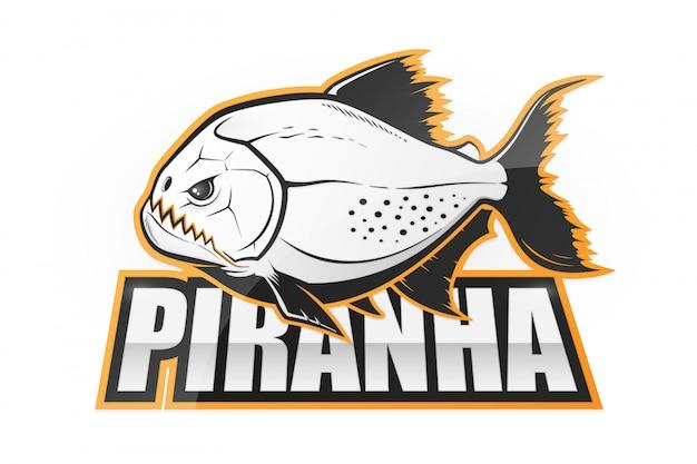Черно-белая эмблема рыбы пиранья Premium векторы