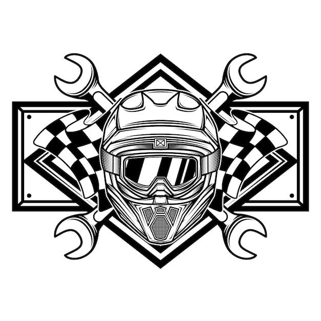 黒と白のレーシングチームのロゴ Premiumベクター