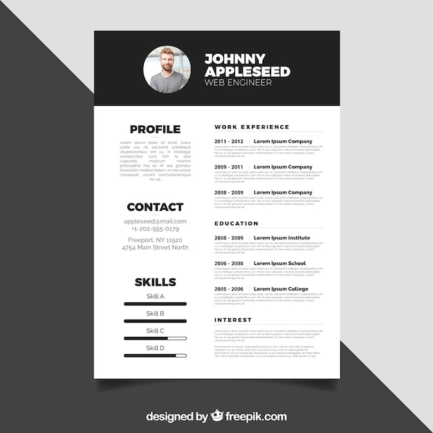 black and white resume design vector
