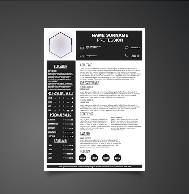 black and white resume template vector free download