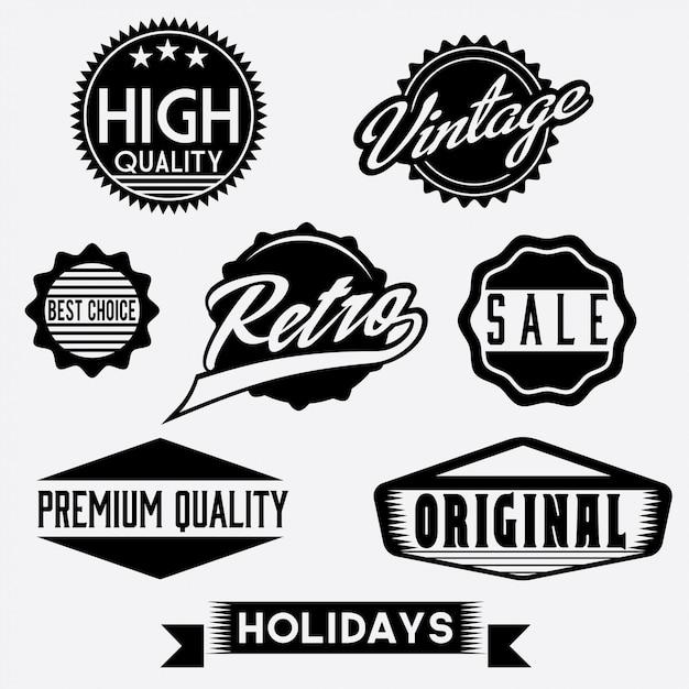 Черно-белые ретро марки и значки Premium векторы
