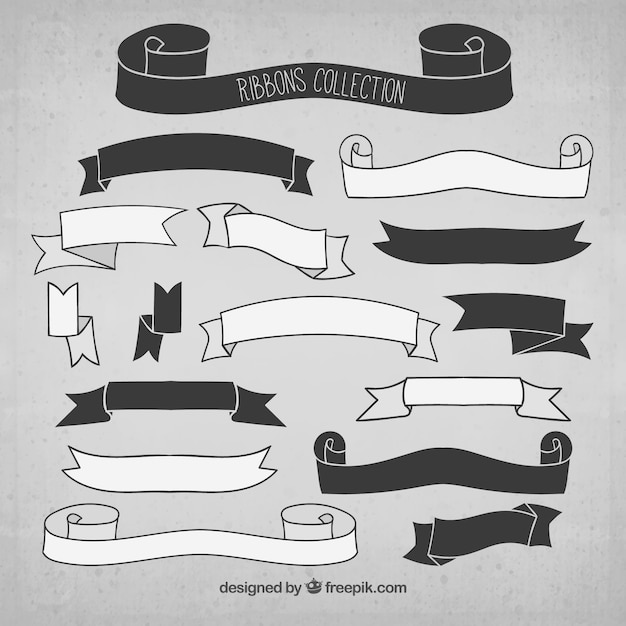 Black and White Ribbons Collection Vector | Free Download