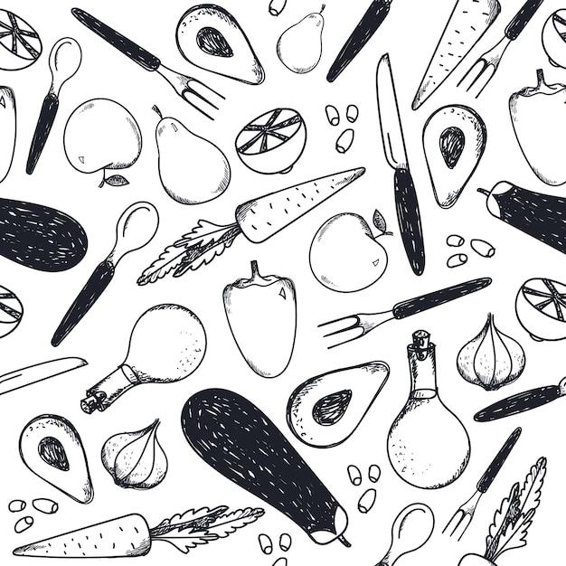 黒と白のシームレスな食品パターン。野菜、フォーク、ナイフ、スプーン、油の背景 Premiumベクター