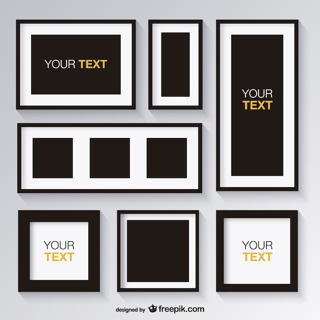 black and white set of frames free vector