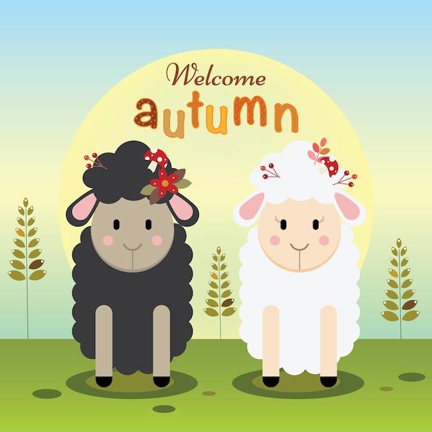Черно-белая овца приветствует осень Premium векторы