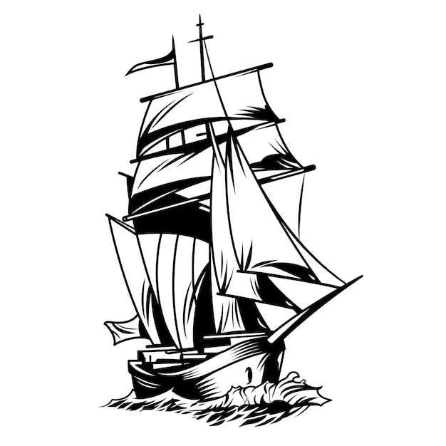 Черно-белый корабль Бесплатные векторы