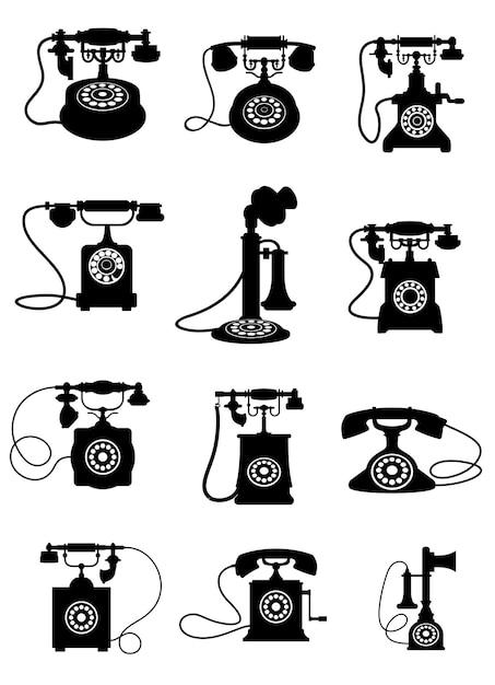 흰색 배경에 고립 된 빈티지 전화기의 흑백 실루엣 프리미엄 벡터