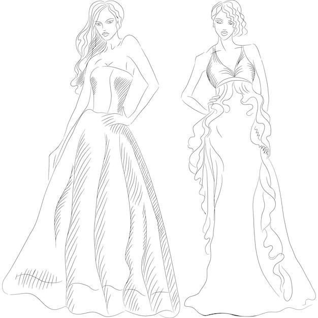 Черно-белый рисунок красивых молодых девушек с длинными волосами в модных вечерних платьях на белом фоне Premium векторы