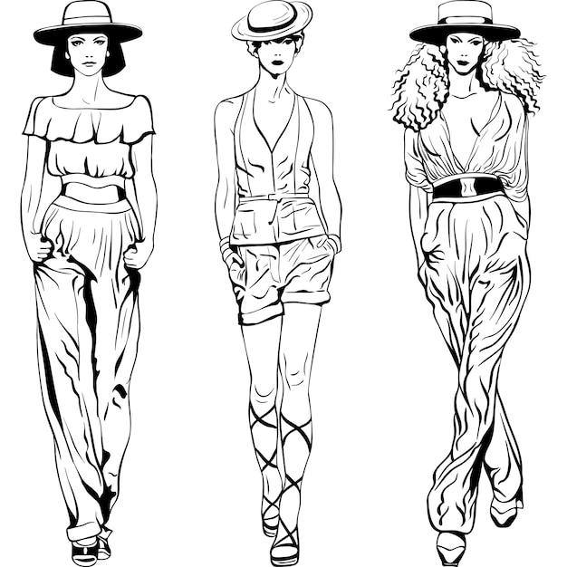 Черно-белый рисунок красивых молодых девушек в брючных костюмах и шляпах, изолированные на белом фоне Premium векторы