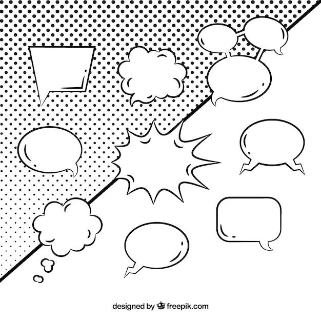 Black and white speech bubble collection