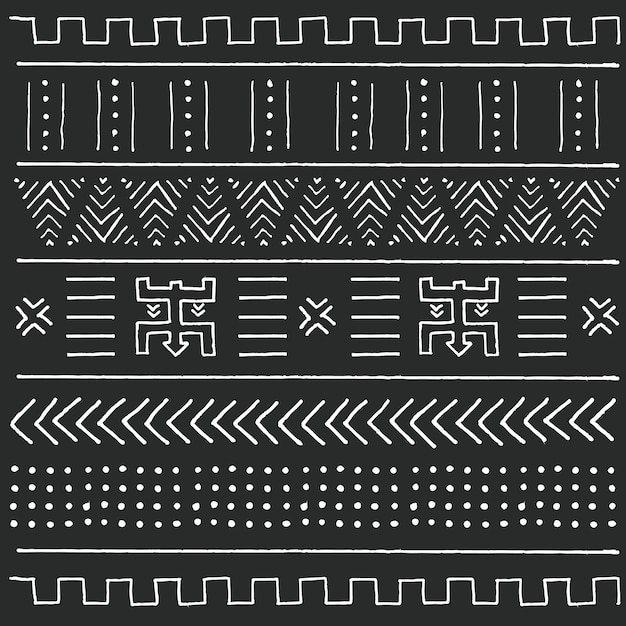 Black and white tribal ethnic pattern with geometric elements, traditional African mud cloth, tribal design Premium Vector