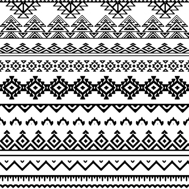 Black and white tribal pattern Free Vector