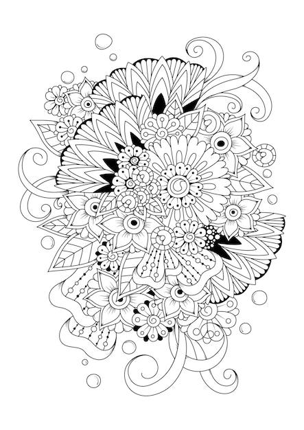着色のための黒と白のベクトルの背景。抽象的な花の着色のページ。 Premiumベクター