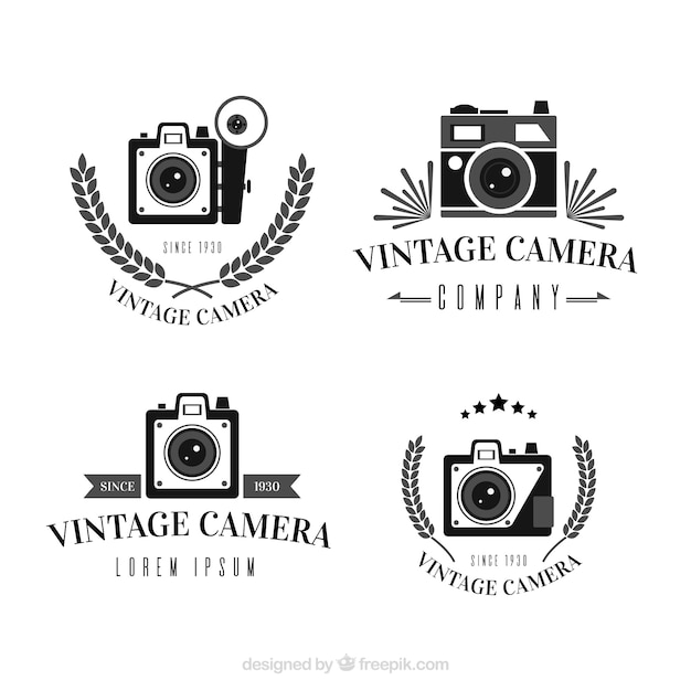 Black and white vintage camera logo collection