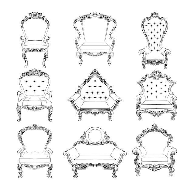 black and white vintage furniture vector free download